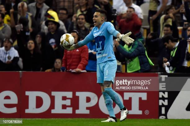 Pumas goalkeeper Alfredo Saldivar reacts against the referee during the second round of semifinals of the Mexican Apertura tournament football match...