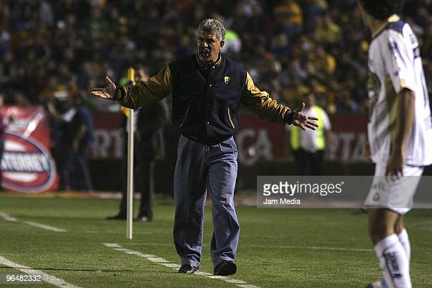 Pumas' Head Coach Ricardo Ferretti reacts during their match against Tigres as part of the 2010 Bicentenary Tournament of the Mexican Football League...