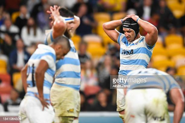 Pumas players look dejected during The Rugby Championship match between the Argentina Pumas and the New Zealand All Blacks at Suncorp Stadium on...