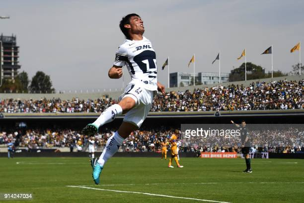 TOPSHOT Pumas's forward Matias Alustiza celebrates after scoring a goal against Tigres during their Mexican Clausura tournament football match at...