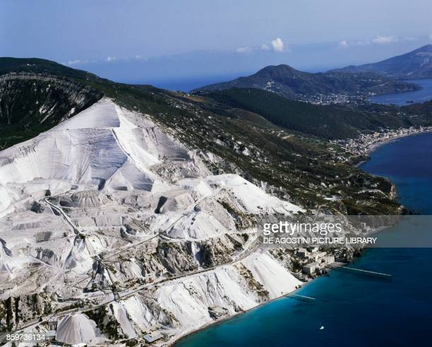 Pumice quarries and the city of Canneto in the NorthEast of Lipari Island Aeolian Islands Sicily Italy