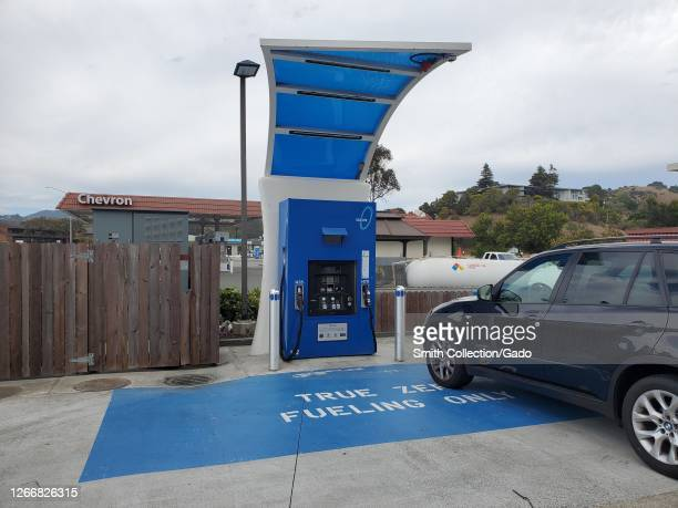 Pump with logos is visible at True Zero hydrogen fuel cell filling station in Marin County, Mill Valley, California, August 16, 2020.