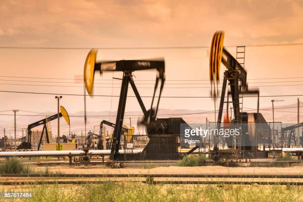 Pumpjack lifts oil from a well in California USA