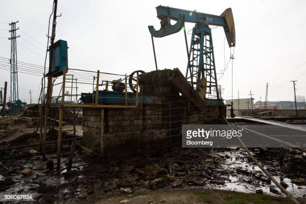 A pumpjack operates in Baku Azerbaijan on Sunday March 18 2018 Two years after descending into junk Azerbaijan's shortest path to winning back its...