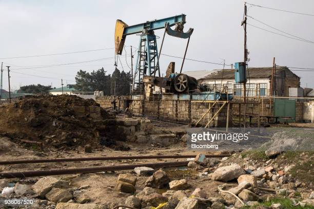 A pumpjack operates in in Baku Azerbaijan on Sunday March 18 2018 Two years after descending into junk Azerbaijan's shortest path to winning back its...