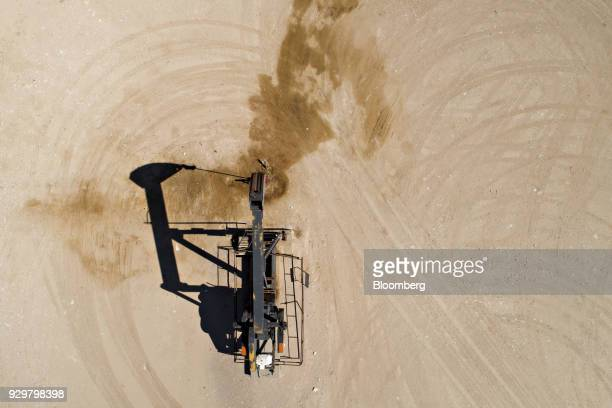 A pumpjack operates on an oil well in the Permian Basin in this aerial photograph over Crane Texas US on Friday March 2 2018 Chevron the world's...
