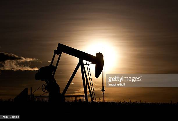 Pumpjack Silhouette on the Great Plains in Alberta