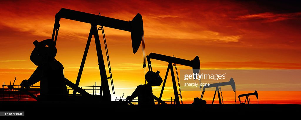 XXXL pumpjack silhouettes : Stock Photo