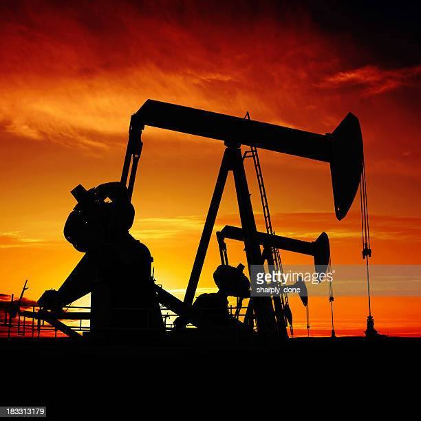 xxxl pumpjack silhouettes - montana western usa stock pictures, royalty-free photos & images