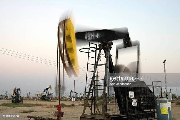 Pumpjacks extract oil from oil fields in Lost Hills California