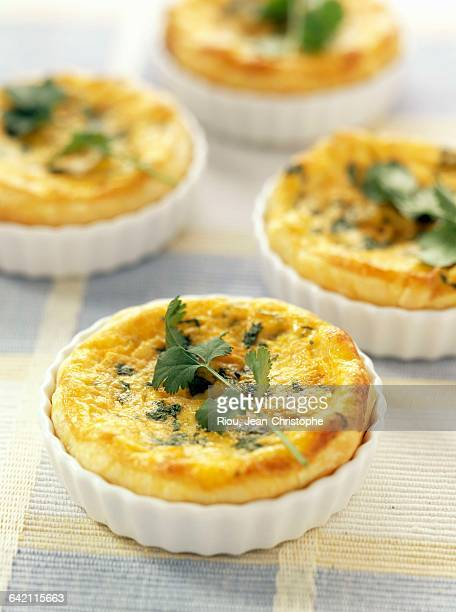 Pumpkin and coriander quiches