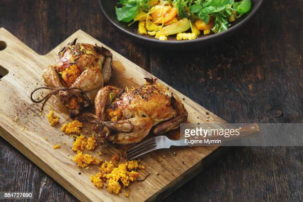 pumpkin and quinoa stuffed quails - quail bird stock photos and pictures