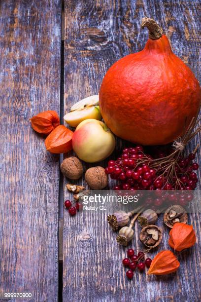 Pumpkin, apples, viburnum, physalis, briar, nuts and autumn leaves on a wooden background old.