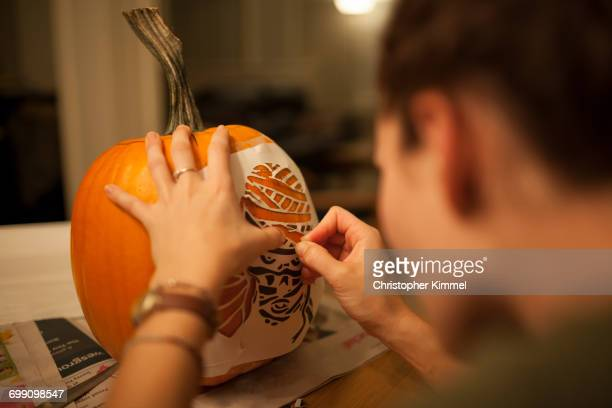 pumpkin carving - stencil stock pictures, royalty-free photos & images