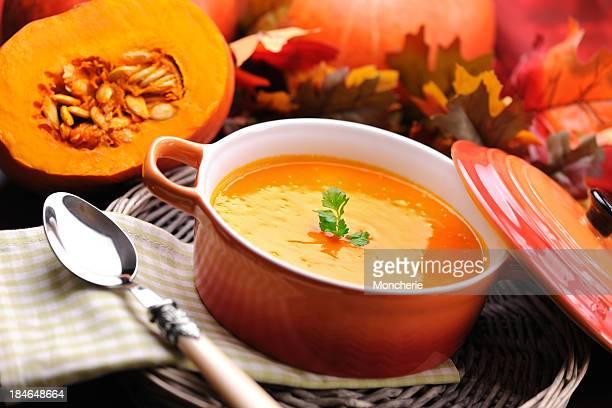 Pumpkin creme soup in skew