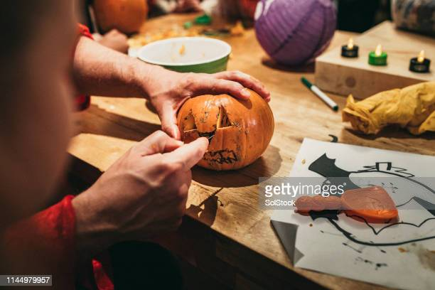 pumpkin design - carving craft product stock pictures, royalty-free photos & images
