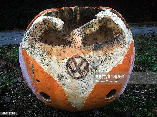 A pumpkin in the form of a Volkswagen Bully Bus with engraved VW signs standing on a meadow on November 07 2015 in Berlin Germany According to media...