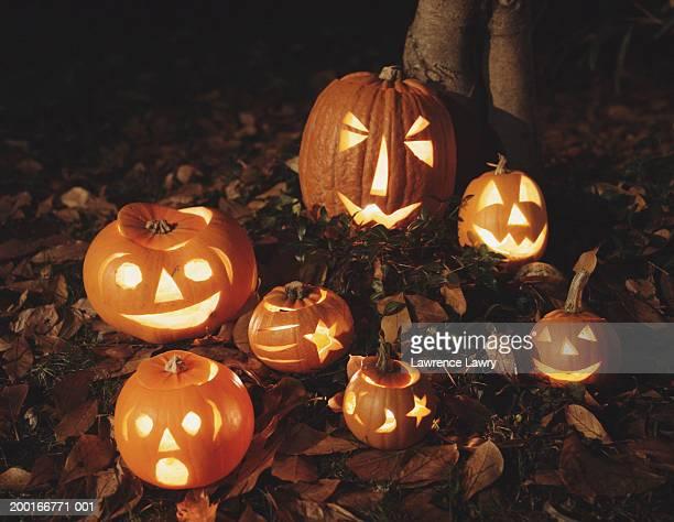 pumpkin lanterns on ground, night - halloween pumpkin stock photos and pictures
