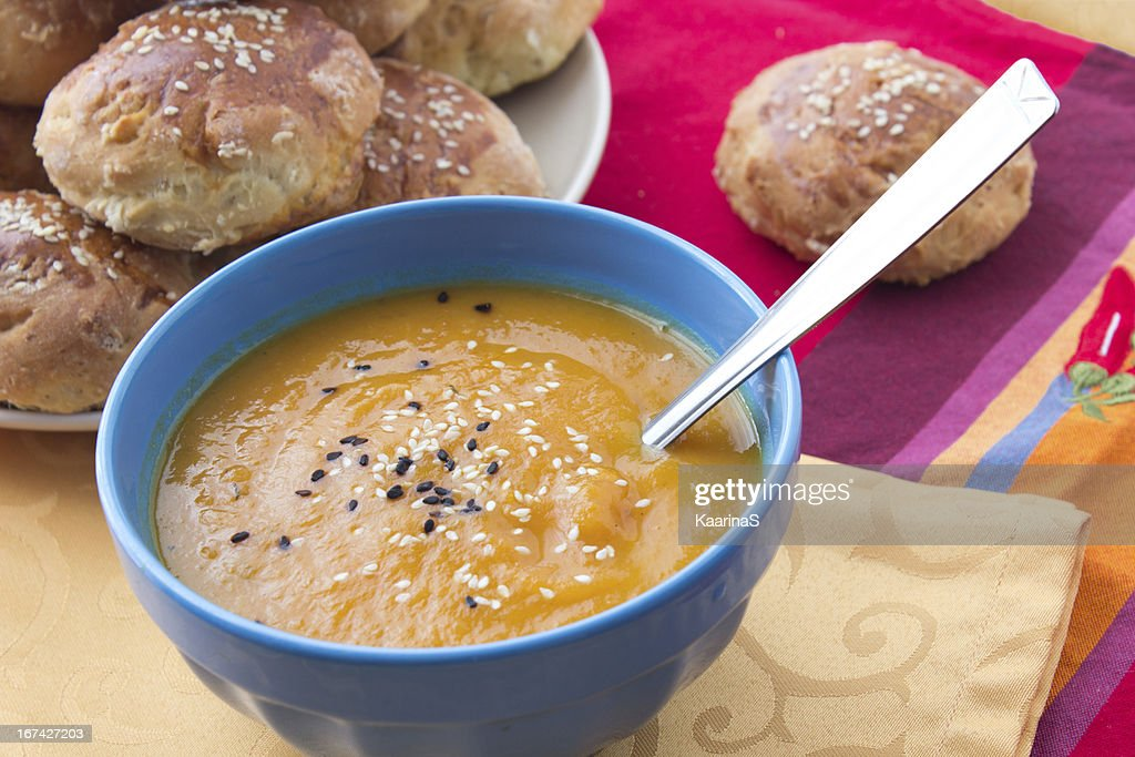 Pumpkin mashed soup with sesame : Stock Photo