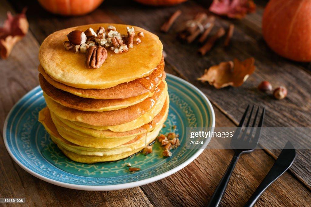 Pumpkin pancakes, autumn comfort food : Stock Photo