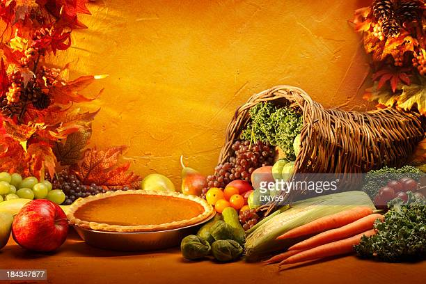 Pumpkin Pie and Cornucopia in an autumn setting