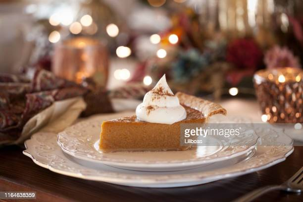 pumpkin pie - dessert stock pictures, royalty-free photos & images
