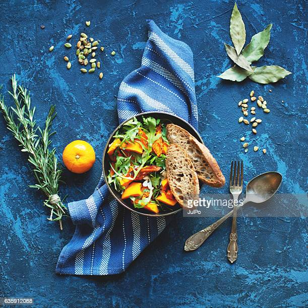 pumpkin salad - salad stock pictures, royalty-free photos & images