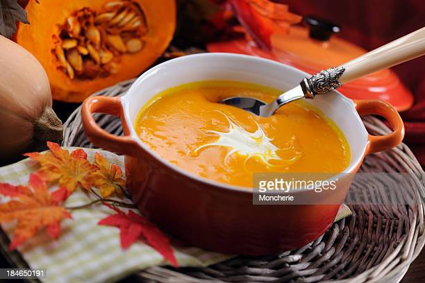 Pumpkin soup in skew with creme fraiche