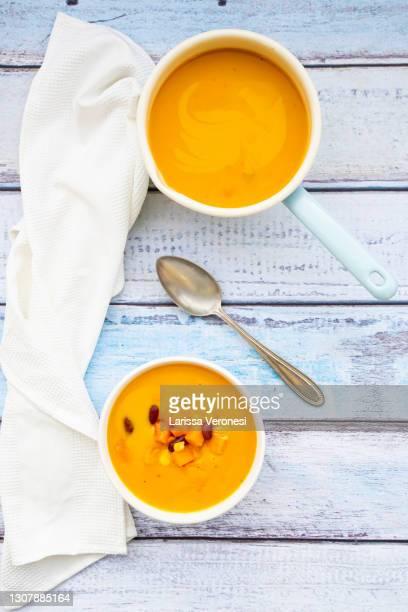 pumpkin soup - larissa veronesi stock-fotos und bilder