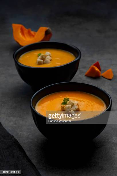 pumpkin soup with croutons and parsley