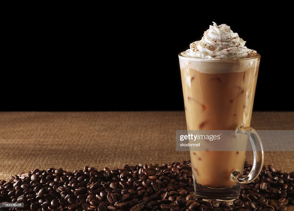 Pumpkin Spice Latte on Black : Stock Photo