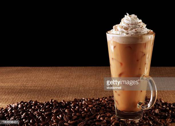 pumpkin spice latte on black - iced coffee stock pictures, royalty-free photos & images
