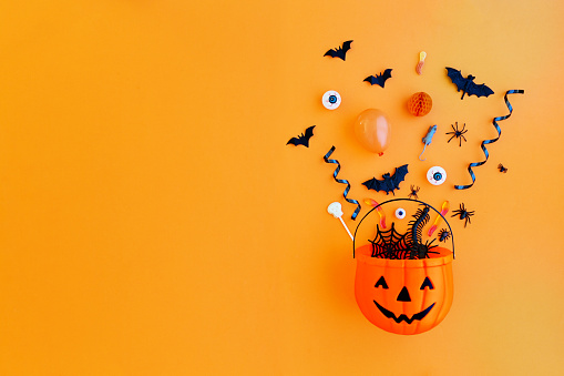 Pumpkin with Halloween objects 1046489332