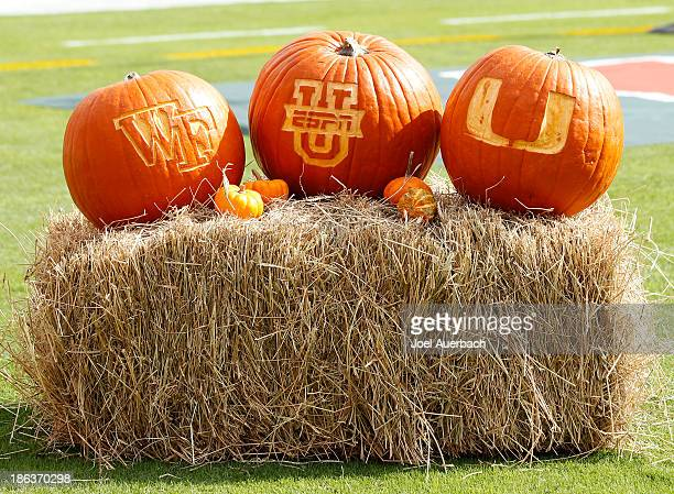 Pumpkins bearing the logos of ESPN and of the Miami Hurricanes and the Wake Forest Demon Deacons is shown on October 26 2013 at Sun Life Stadium in...