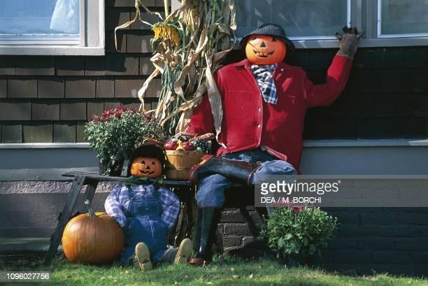 Pumpkins decorated for Halloween celebration Peacham Vermont United States of America