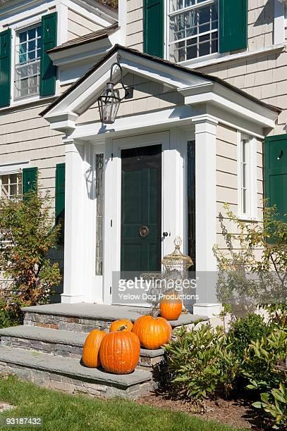 Pumpkins on Front Door Steps
