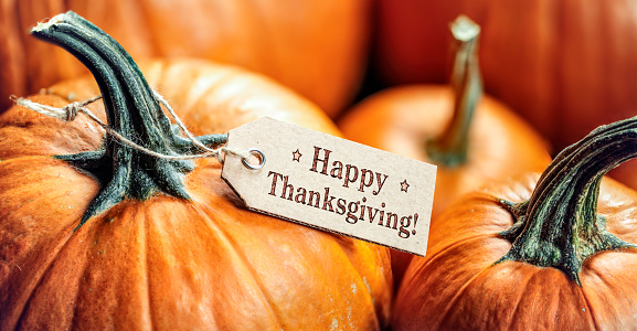 Pumpkins With Happy Thanksgiving Paper Tag 1169970932