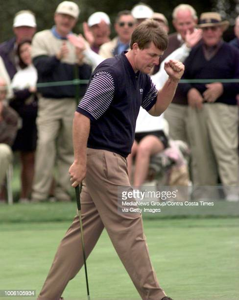 MICKELSON pumps his fist after sinking his putt on the 17th hole Mickelson went on to win the ATT PEBBLE BEACH NATIONAL PROAM GOLF CHAMPIONSHIP