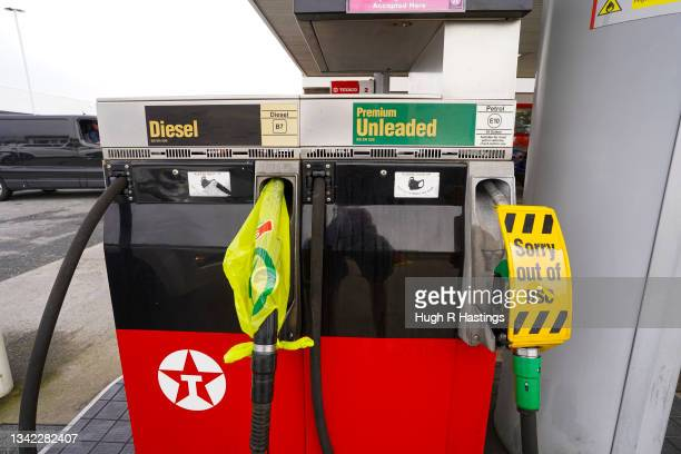 Pumps out of action due to fuel shortages at a Texaco franchise garage on September 24, 2021 in Helston, England. BP and Esso have announced that its...