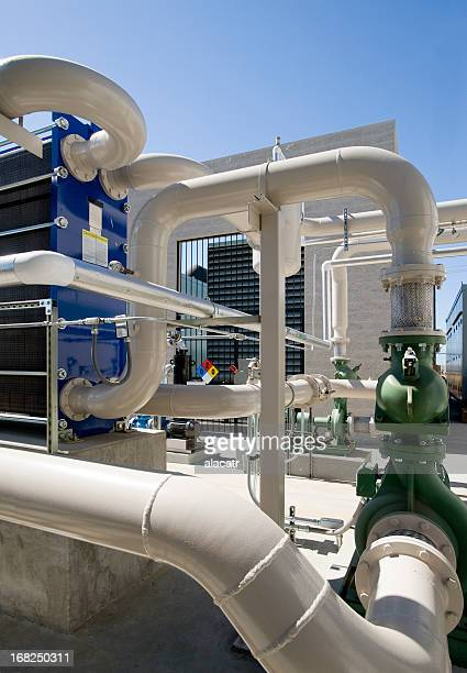 Pumps, Pipes and Cooling Towers for HVAC System.
