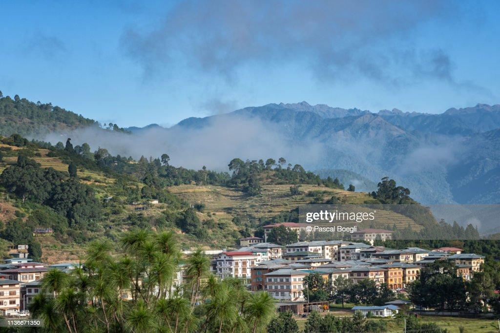 Punakha and its mountains, Bhutan : Stock Photo