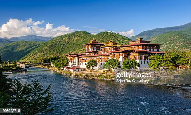 punakha dzong, fortress of bhutan, copy space - bhutan stock pictures, royalty-free photos & images