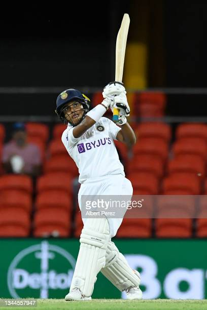 Punam Raut of India bats during day four of the Women's International Test Match between Australia and India at Metricon Stadium on October 03, 2021...