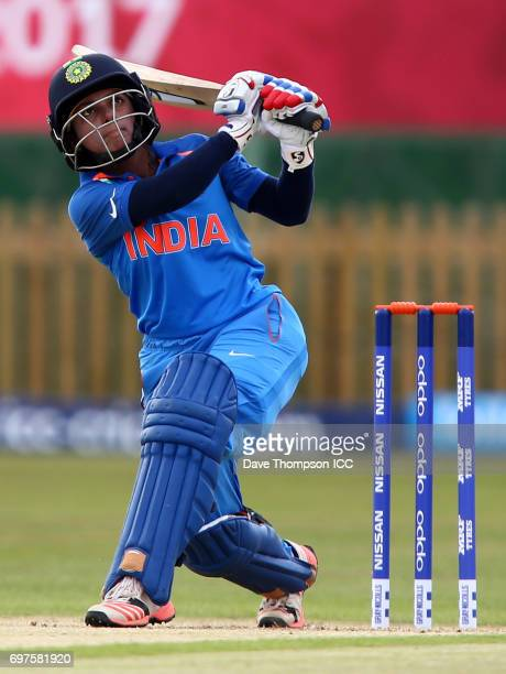Punam Raut of India hits a six during the ICC Women's World Cup warm up match between India and New Zealand at The County Ground on June 19 2017 in...