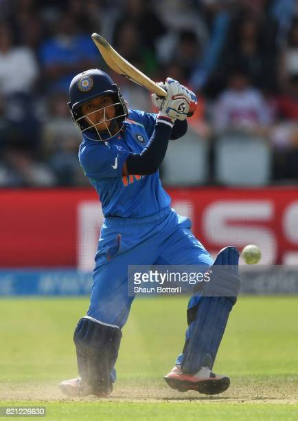 Punam Raut of India plays a shot during the ICC Women's World Cup 2017 Final between England and India at Lord's Cricket Ground on July 23 2017 in...