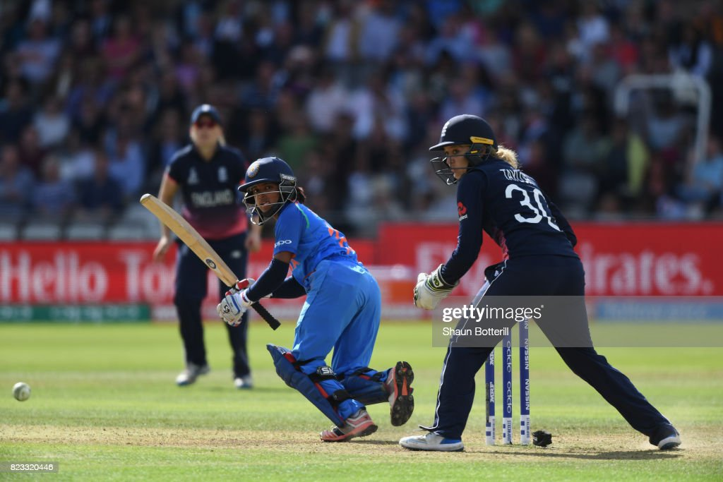 Punam Raut of India plays a shot during the ICC Women's World Cup 2017 Final between England and India at Lord's Cricket Ground on July 23, 2017 in London, England.