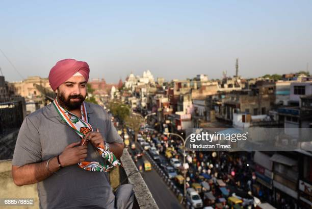 Punardeep Sahani, of Congress party will be contesting for MCD polls from Chandni Chowk, on April 10, 2017 in New Delhi, India.