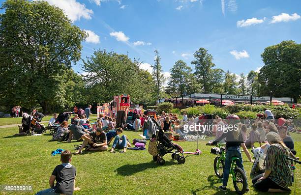 punch and judy audience at crystal palace park - crystal palace london stock pictures, royalty-free photos & images