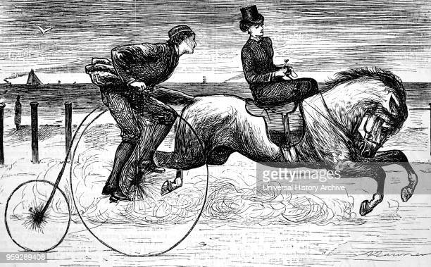 Punch cartoon ' courting a lady using a 'Penny Farthing' Bicycle as the man gallops by on a horse 1876