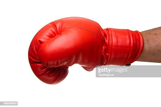 punch with a boxing glove - boxing gloves stock pictures, royalty-free photos & images